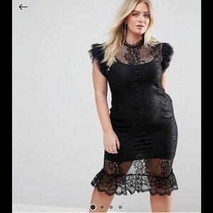 EUC- ASOS -Club London Black Lace Dress